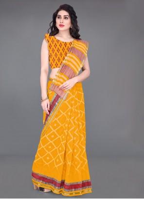Mustard Printed Saree