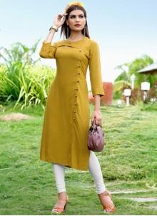 Mustard Rayon Fancy Party Wear Kurti