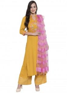 Mustard Rayon Printed Salwar Kameez