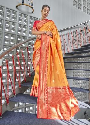 Mustard Reception Art Silk Designer Traditional Saree