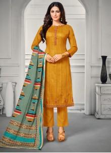 Mustard Satin Casual Trendy Salwar Suit