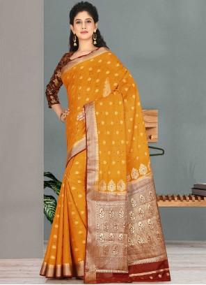 Mustard Satin Silk Embroidered Traditional Designer Saree