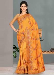 Mustard Satin Silk Party Traditional Designer Saree