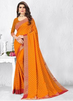 Mustard Silk Lace Designer Saree