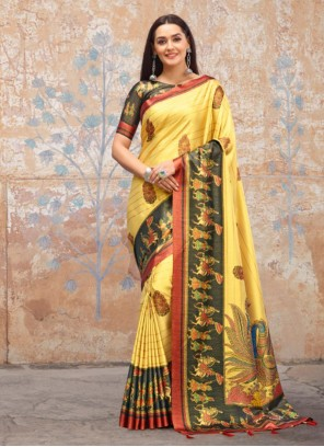 Mustard Silk Trendy Saree