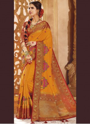 Mustard Weaving Art Silk Designer Traditional Saree