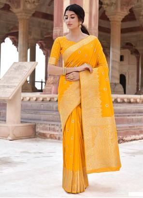 Mustard Weaving Banarasi Silk Traditional Designer Saree