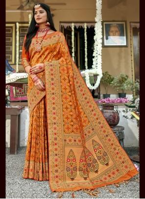 Mustard Weaving Banarasi Silk Traditional Saree
