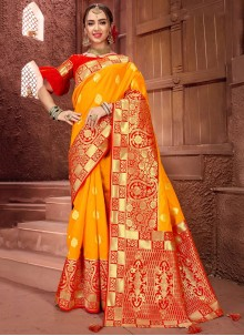 Mustard Weaving Designer Traditional Saree