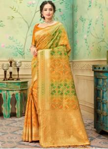 Mustard Weaving Festival Trendy Saree
