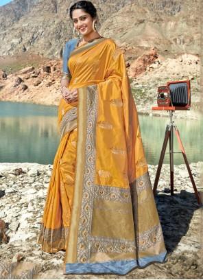 Mustard Weaving Silk Classic Saree