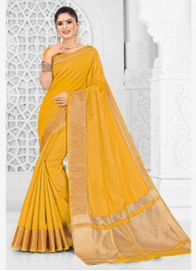 Mustard Weaving Silk Saree