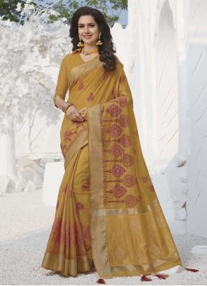 Mustard Weaving Traditional Designer Saree