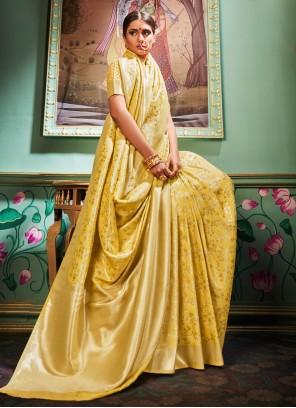 Mustard Weaving Trendy Saree