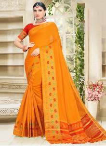 Mustard Woven Cotton Silk Designer Traditional Saree