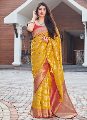 Mustard Woven Designer Traditional Saree