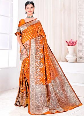 Mustard Woven Jacquard Silk Designer Traditional Saree