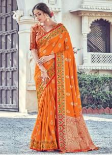 Mustard Woven Silk Designer Traditional Saree