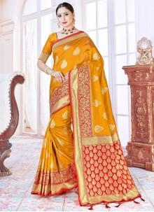 Mustard Woven Traditional Designer Saree