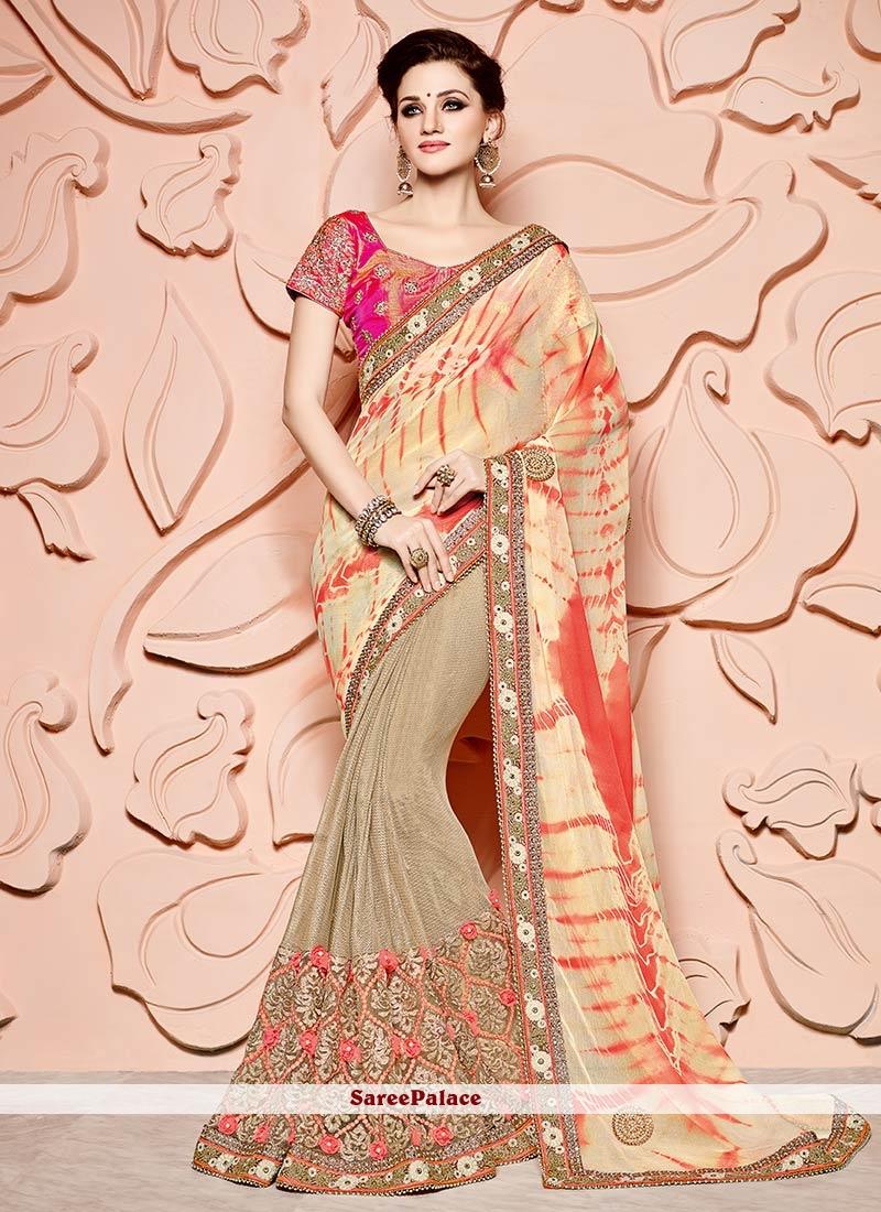 Mystic Beige Art Silk Designer Half N Half Saree