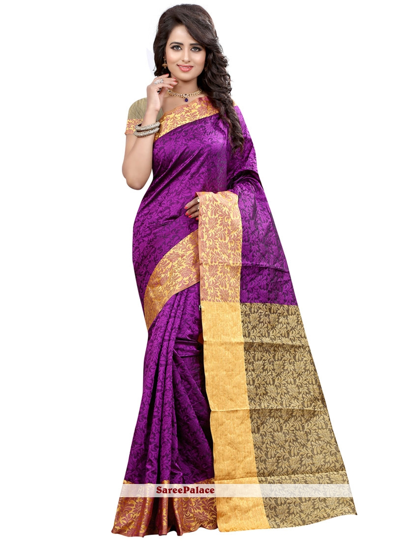 Mystic Cotton Silk Purple Weaving Work Traditional  Saree