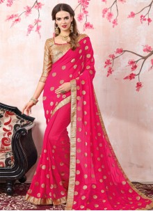 Mystic Georgette Hot Pink Bollywood Saree