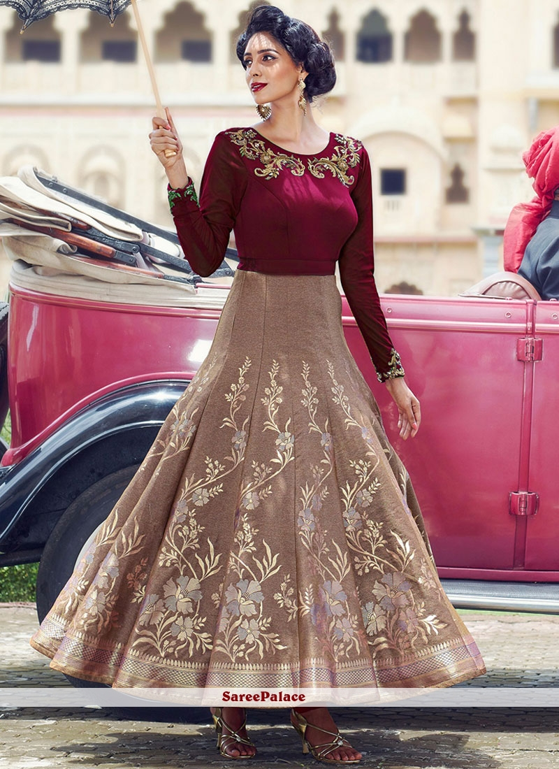 Mystical Beige and Maroon Readymade Anarkali Suit