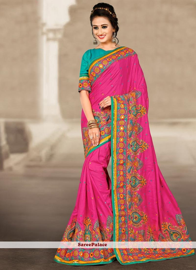 Mystical Hot Pink Resham Work Manipuri Silk Traditional Designer Saree