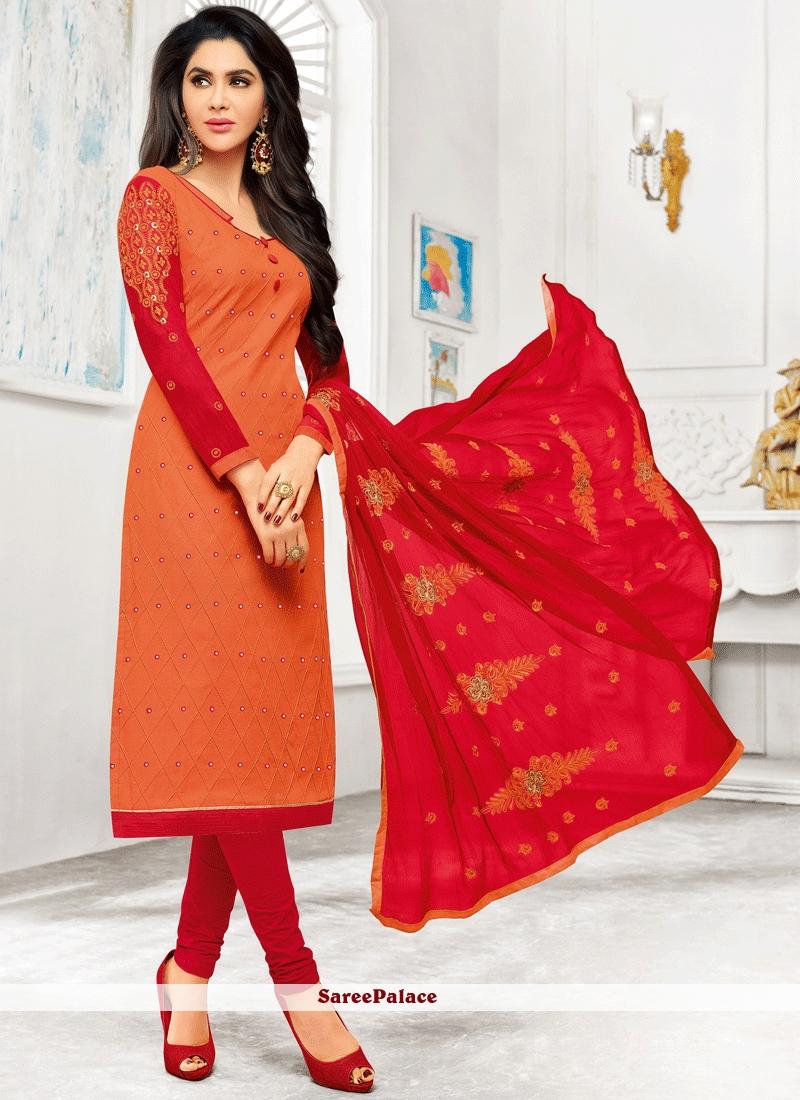 4f7b77f733 Buy Mystical Orange and Red Embroidered Work Cotton Churidar Designer Suit  Online