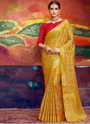 Mystical Silk Yellow Abstract Print Work Classic Saree