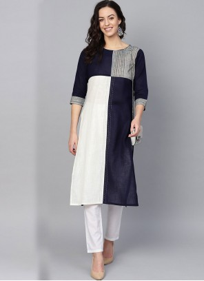 Navy Blue and Off White Fancy Cotton Party Wear Kurti