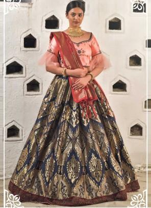 Navy Blue and Peach Art Banarasi Silk Lehenga Choli