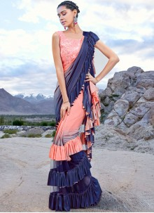 Navy Blue and Peach Fancy Fabric Embroidered Half N Half Trendy Saree