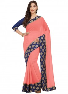 Navy Blue and Peach Faux Chiffon Casual Saree