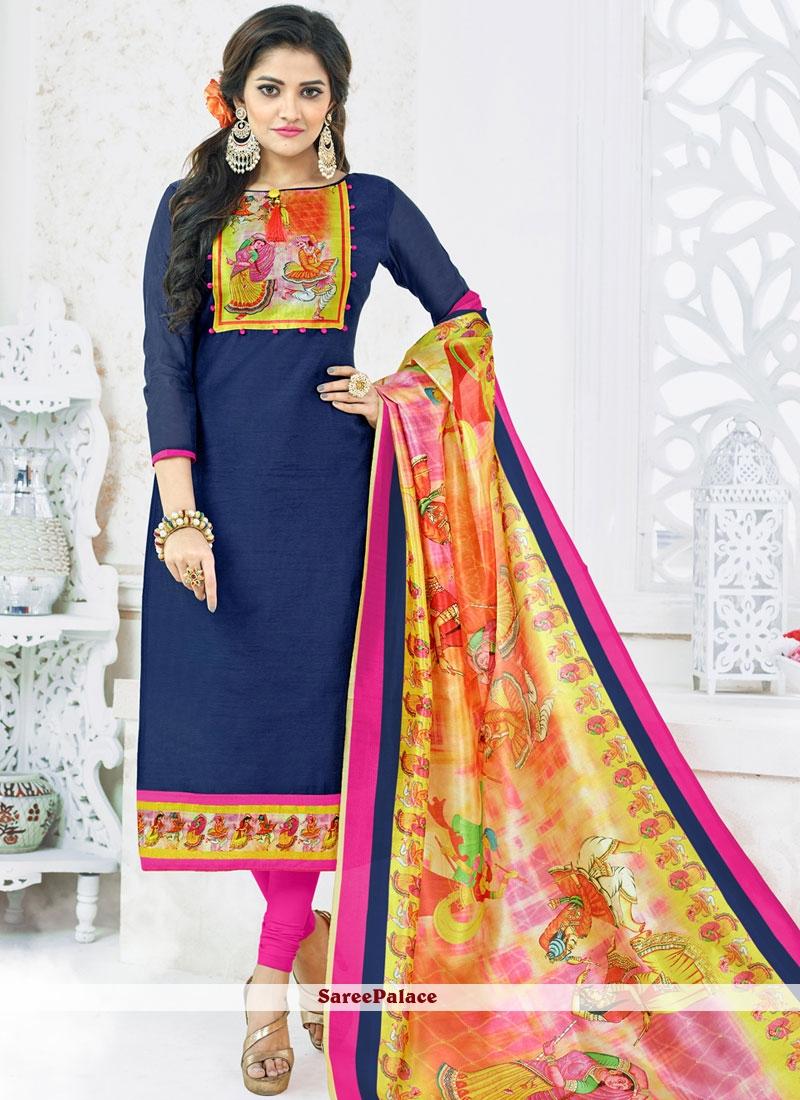 Navy Blue and Pink Digital Print Work Cotton   Churidar Suit