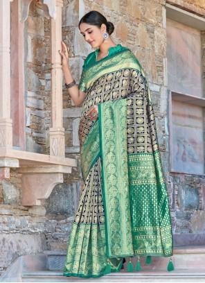 Navy Blue and Rama Festival Designer Traditional Saree