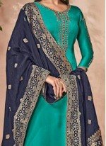 Navy Blue and Teal Palazzo Designer Suit