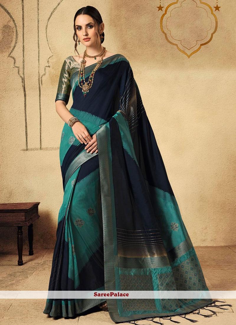 Navy Blue and Turquoise Fancy Wedding Designer Saree