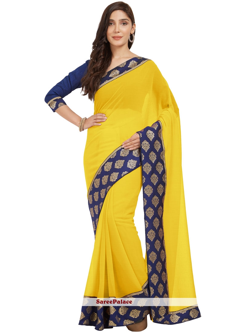 3c6b3f433f0b83 Buy Navy Blue and Yellow Lace Work Faux Chiffon Casual Saree Online