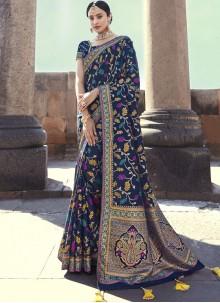 Navy Blue Art Banarasi Silk Embroidered Designer Traditional Saree