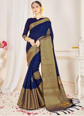 Navy Blue Art Banarasi Silk Traditional Saree