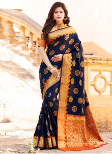 Navy Blue Art Banarasi Silk Weaving Designer Traditional Saree