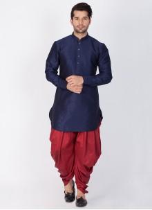 Navy Blue Art Banarasi Silk Wedding Dhoti Kurta
