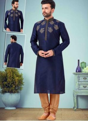 Navy Blue Art Dupion Silk Embroidered Kurta Pyjama
