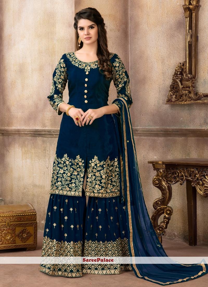 e80112a419 Buy Navy Blue Art Silk Designer Palazzo Suit Online