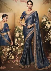 Navy Blue Art Silk Designer Saree