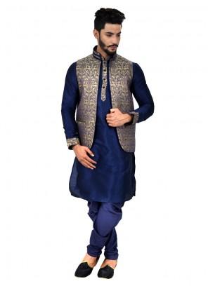 Navy Blue Art Silk Kurta Payjama With Jacket with Plain