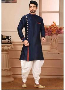 Navy Blue Art Silk Kurta Pyjama