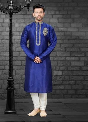 Navy Blue Art Silk Reception Kurta Pyjama