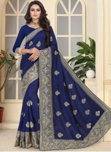 Navy Blue Art Silk Traditional Designer Saree